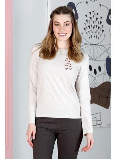 Hays Smart Kadın Ekose Penye Uzun Pijama Takımı Bej